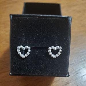 Silver studded heart earring
